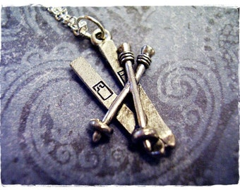 Silver Skis Necklace - Antique Pewter Skis Charm on a Delicate Silver Plated Cable Chain or Charm Only