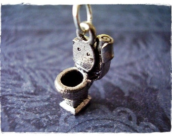 Silver Toilet Necklace - Antique Pewter Toilet Charm on a Delicate Silver Plated Cable Chain or Charm Only