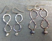 INFINITY earrings. HOLIDAY gifts sterling  silver or 14k gold fill.  With pearl or crystal.