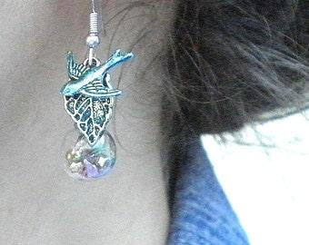 Steampunk Earrings,Charming Cosplay Earrings,Glass Bubble, Swallow Earrings,Steam Punk Goth, Jewellry,Glass Vile Earrings