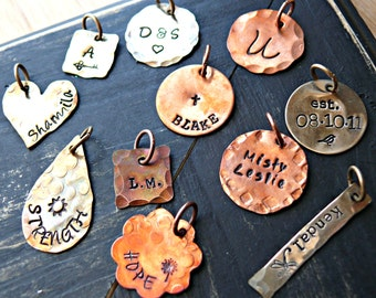 Hand Stamped Charms - Personalized Charms - Single Charms  - Brass and Copper Single Charms - Rustic Charms