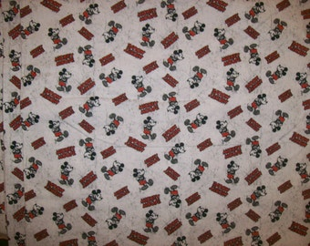 A Wonderful Disney Classic Mickey Mouse Cotton Fabric By The Yard Free US Shipping