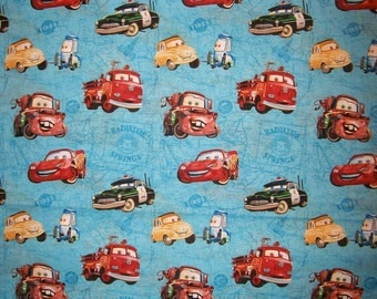 A Wonderful Disney Pixar Cars On Map Cotton Fabric by the yard Free US Shipping
