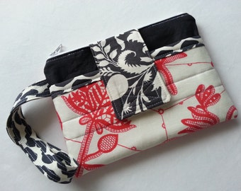 Wristlet / Clutch - Red and Black - Amy Butler Fabrics - fits a Samsung Galaxy S5