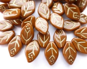 25 Czech Glass Auburn Rust Brown Leaf Beads with gold veins  12x7mm