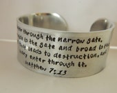 Hand Stamped, Personalized Women's Wide Silver Cuff Bracelet with Quote, Scripture or Kids, Grandkids names