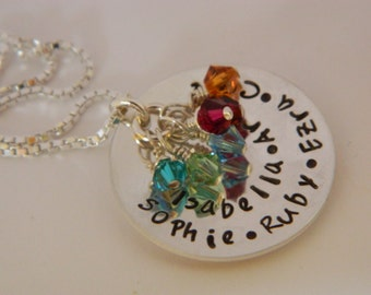 Sterling Silver, Personalized, Hand stamped Necklace for Mom, Grandma with kids, grandkids names