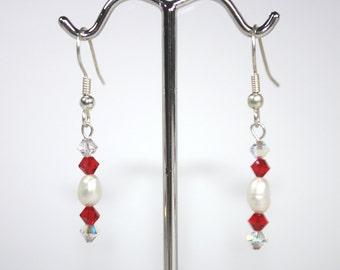 Pearl and Crystal Earrings - fresh water pearls, Swarovski crystals, sterling silver, drop earrings, bridal jewelry, bridesmaid