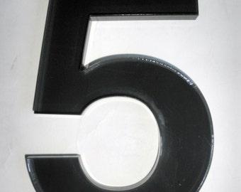 House Number in Dark Smokey Grey Plexiglas Acrylic Number 5