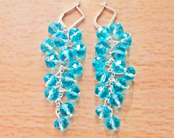 Crystal Glass Earrings Drop Dangle Chandelier Bridesmaids Wedding Valentines Gift Blue Aqua teardrop rain grapes sterling silver plated