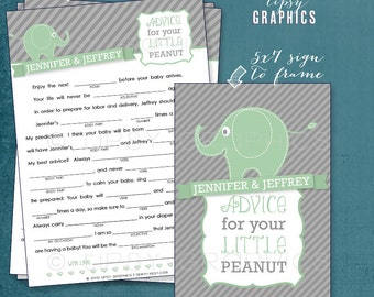 Advice for the Peanut. Elephant Baby MadLibs by Tipsy Graphics. Baby Wishes AdLib. Baby Statistics. Printable Cards, any Colors