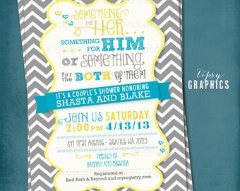 Something for Him, Her or Something for the Both of Them. CHEVRON Couple's Wedding Shower Invite. By Tipsy Graphics. Any colors