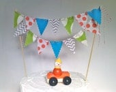 Cake Bunting Carnival Time Turquoise, Poppy, Lime and Grey