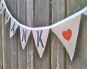 Thank You Bunting Wedding Banner for photo prop, card Rustic Burlap like cotton