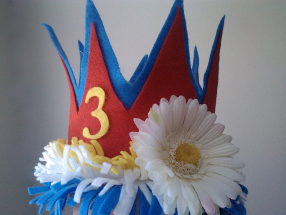 Birthday Crown Whimsical Felt Party Hat Personalized and Customized with Age and Colors