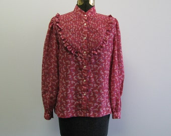 70s Floral Blouse / 1970s Pink Sheer Shirt / Print Ruffle Shirt / Long Sleeve Blouse / Bib M L