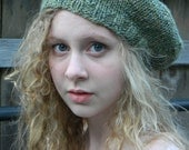 Handknit Hat Slouch Beret - Handspun Merino/Silk blend Wool - Green Heather