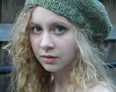 Handknit Hat Slouch Beret - Handspun Merino/Silk blend Wool - Green Heather