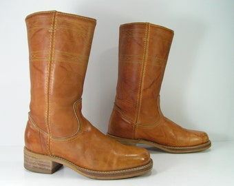 campus cowboy boots womens 6 b m camel tan vintage acme leather western cowgirl