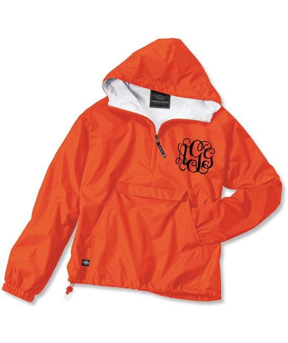 orange monogrammed personalized quarter zip rain jacket