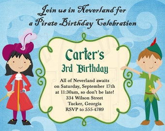 Peter Pan Captain Hook Invitation-Digital File