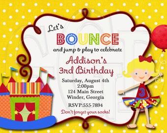 Bounce House Invitation Girl or Boy - Digital File