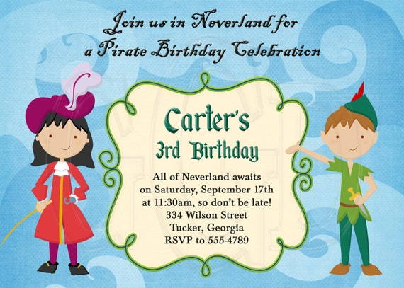 Peter pan captain hook invitation digital file for Peter pan invitation template