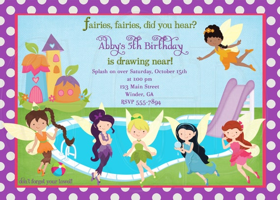 fairies pool party invitation-digital file, Party invitations