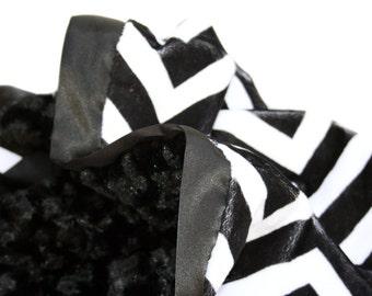 Black and White Minky Chevron Baby Blanket with Flat Satin Ruffle Trim