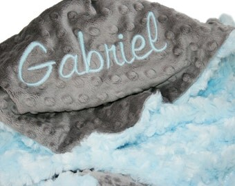 Gray Minky Dot and Baby Blue Minky Swirl Personalized Baby Blanket Standard Size