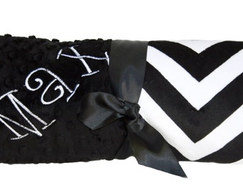 Lovey Size Black and White Chevron Minky Baby Blanket with Black Dot Minky Back Personalization Included over 35 fonts to choose from