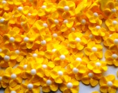 50 Handmade Yellow Sparkling Royal Icing Flowers w/ White Matte Sugar Pearl Center