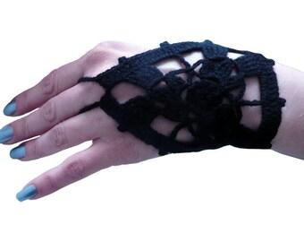 Coctail Gloves, Crochet Black  Fingerless Gloves, Mittens, Hand jewelry, Bracelet,  Crazy for  Beach Pool Dance