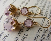 Amethyst Briolette Earrings with Amethyst Glass Connector in Gold Filled Setting.