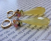 Canary Yellow Chalcedony Earrings With Multiple Gemstones.