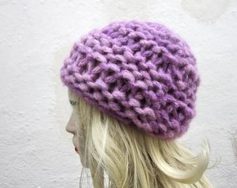 Knit Hat, Chunky Hat, Knitting Women Hat,Winter Hat, Beanie Hat, Lilac