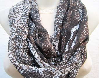 Snake Scarf, Animal infinity Scarf, Loop scarf, Circle Scarf, Tube Scarf, Brown Black Cream