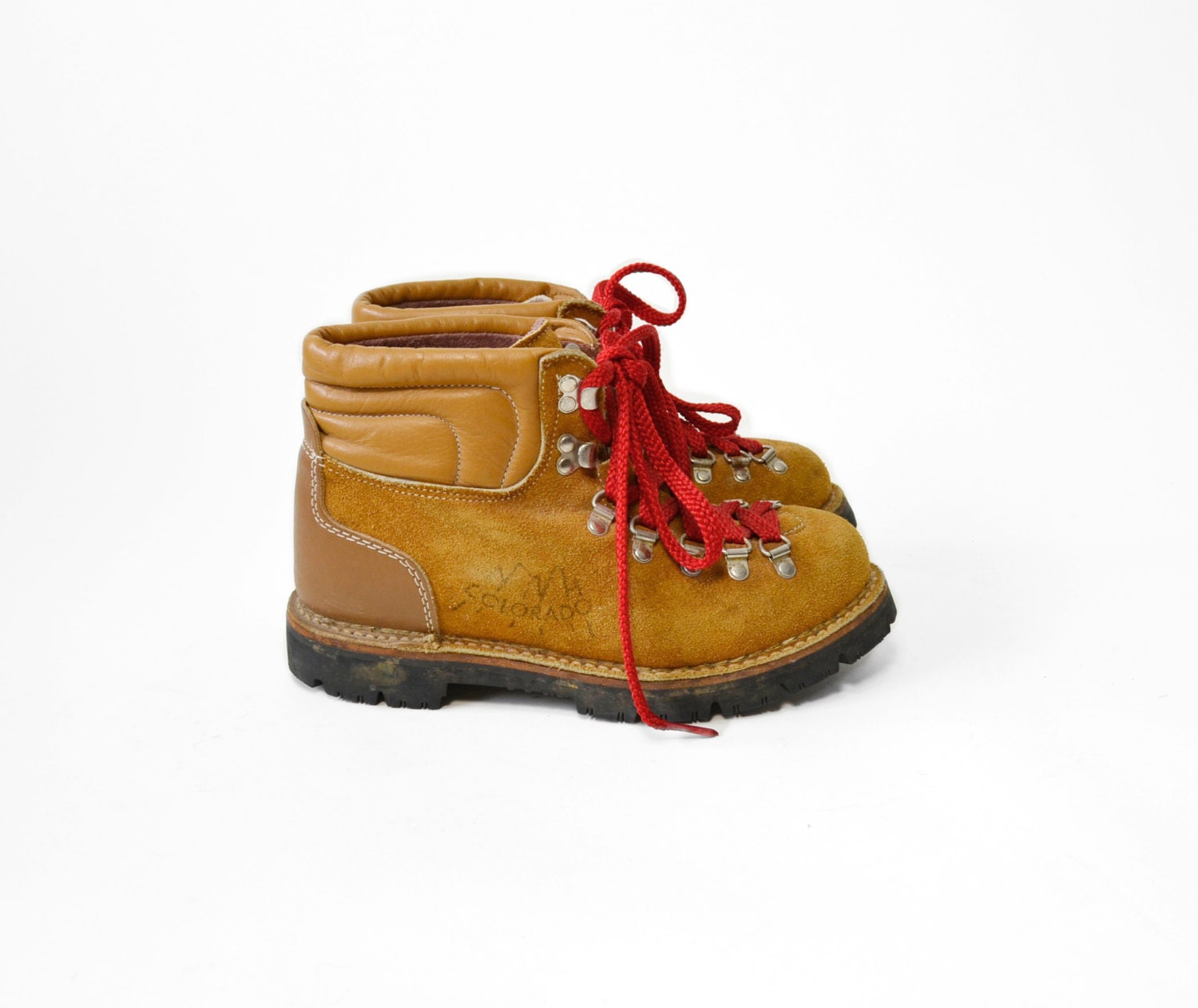 Vintage Tan Leather Hiking Boots With Red Laces Men S