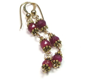 Ruby Danglers Gold Earrings