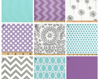 Custom Crib Bedding You Design   Bumper and Bedskirt purple gray and aqua