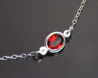 Sterling silver choker necklace, birthstone sterling silver choker necklace, cubic zirconia imitation birthstone, January garnet