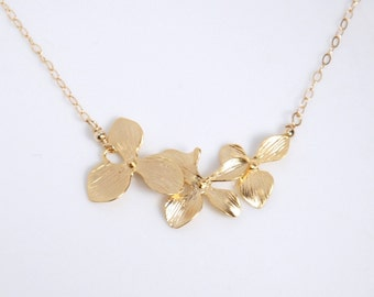 Gold triple orchid flower necklace, 14K gold filled chain