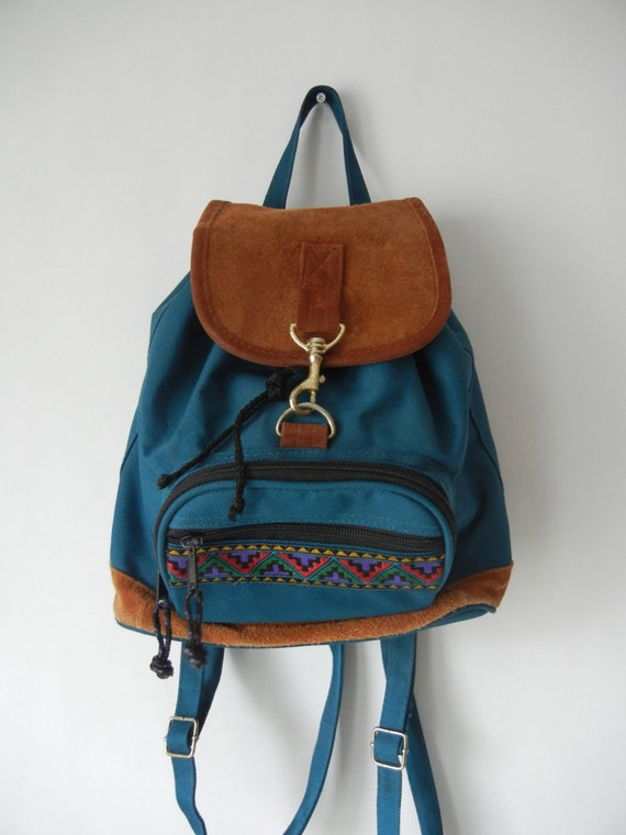 Vintage Mini Backpack 90's Southwestern Tumblr Peacock
