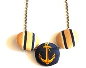 Sailor Away - Upcycled Fabric Covered Button Necklace - Anchor Necklace - Nautical Necklace - Stripes - Anchors - Navy