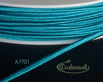Soutache braid - Rayon flat 3mm soutache cord - turquoise (A7701) - 5 meters
