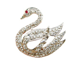 2pc Swan Crystal Rhinestone Brooch - Wedding Cake Decoration Bridal Sash Hair Comb Gift Box Ring Pillow BRO-023 (34mm or 1.3 inch)