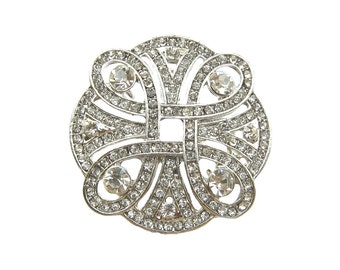 5 Art Deco Crystal Rhinestone Connectors - Wedding Hair Accessories Shoe Clip Ring Pillow CN-017 (35mm or 1.4inch)