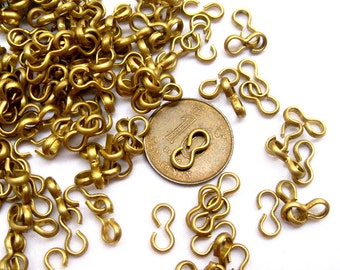 100pcs Raw Brass Clasp Connector Gold Clips 9x4mm Vintage Style t018