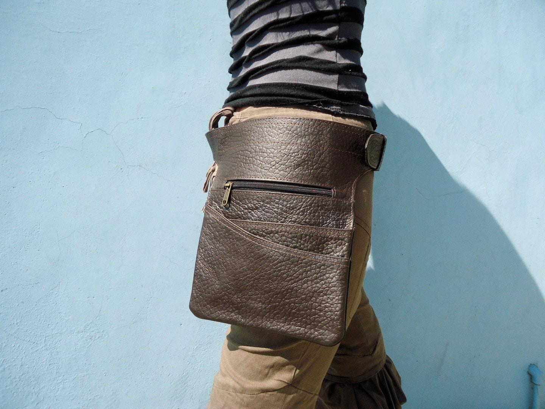 leather utility belt bag hip bag with pockets waitress belt in. Black Bedroom Furniture Sets. Home Design Ideas