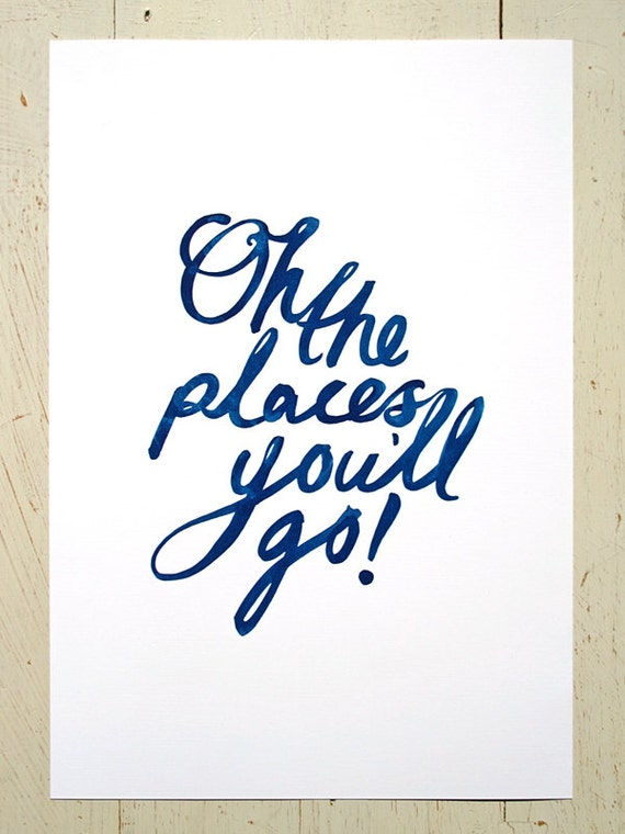 Oh The Places You'll Go typographic print - navy blue. Large size